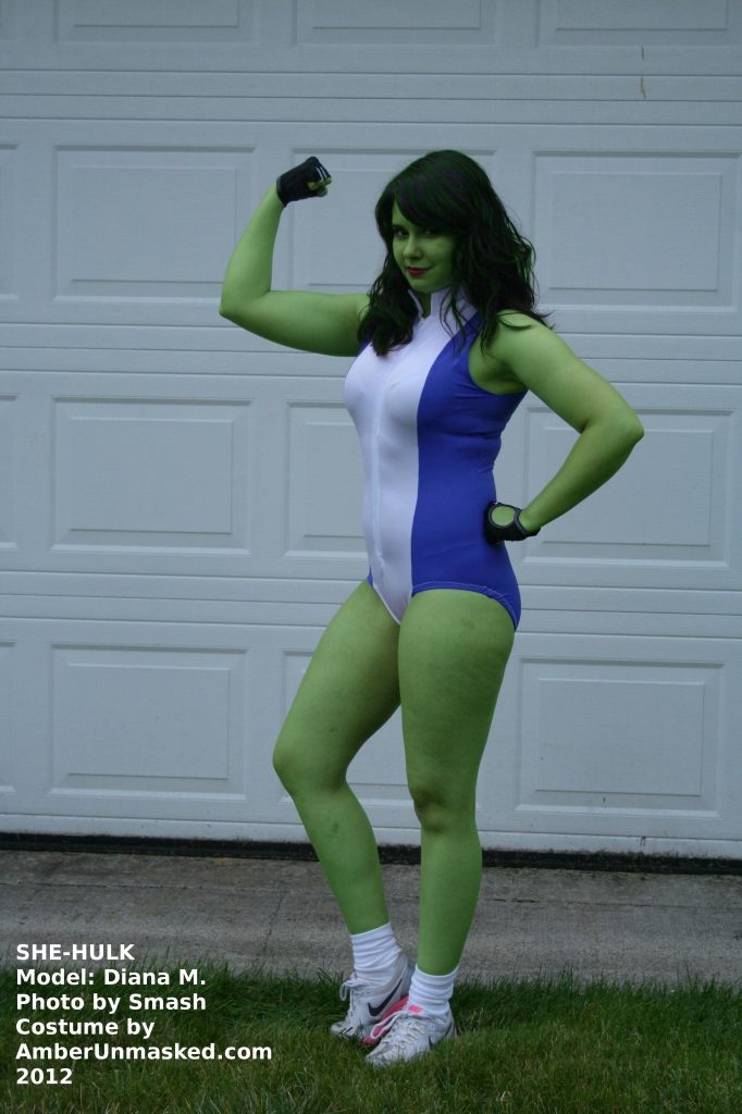 SHE-HULK COSPLAY. COSTUME BY AMBER LOVE. MODELED BY DIANA.