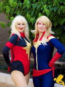 MS. MARVEL & CAPTAIN MARVEL WORN BY PANDA AND LITA. COSTUMES BY AMBER LOVE