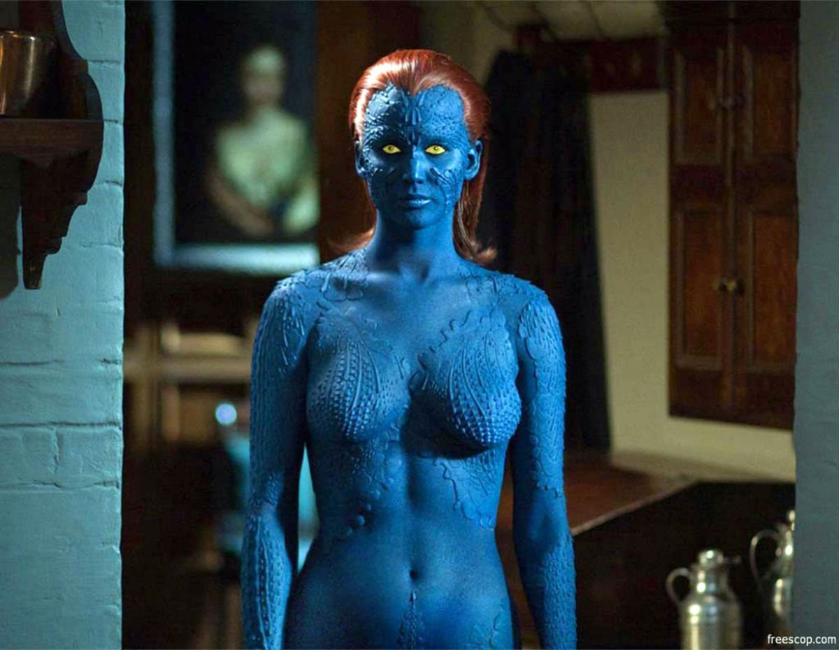 mystique cosplay with huge boobs