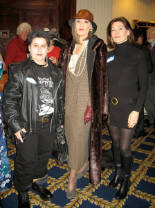 "HANK PHILLIPI RYAN - She cosplays! ""Nikki Bonanni as Lisbeth Salander, Hank as Harriet Vane, and Margery Flax as a very slinky Emma Peel"""