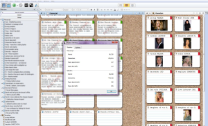 MY SCRIVENER SETUP DURING FIRST REVISIONS: PAGES IN THE CENTER. CHAR NOTES ON THE RIGHT