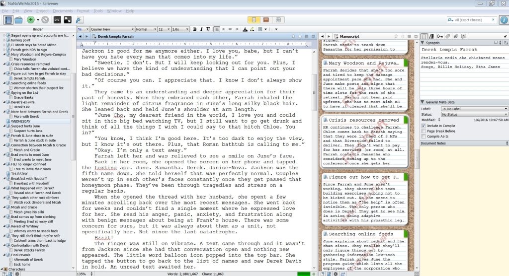 SCRIVENER LAYOUT WHILE EDITING
