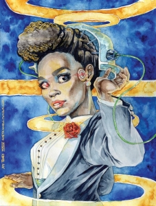 Janelle Monáe as her android persona Cindi Mayweather, mashed up with the False Maria transformation scene from Fritz Lang's Metropolis by Joy Taney