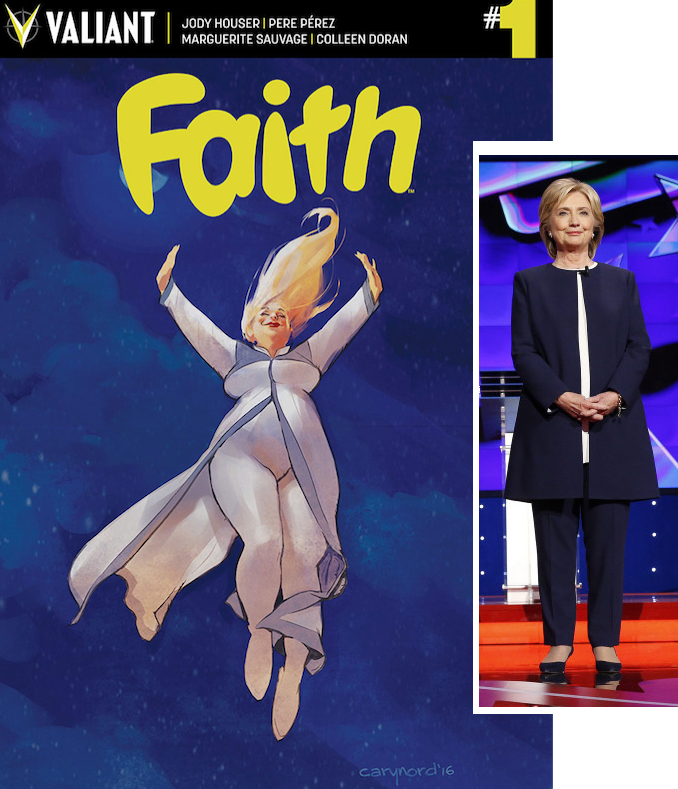 FAITH cover next to Hillary Clinton wearing Armani. Photo: EPA/JOSH HANER / THE NEW YORK TIMES / POOL