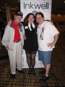 (L-R) Joe Sinnott, Ms. Inkwell Holly Black and Bob Almond at the June 5, 2016 Albany Comic Con (photo by Mark Sinnott)