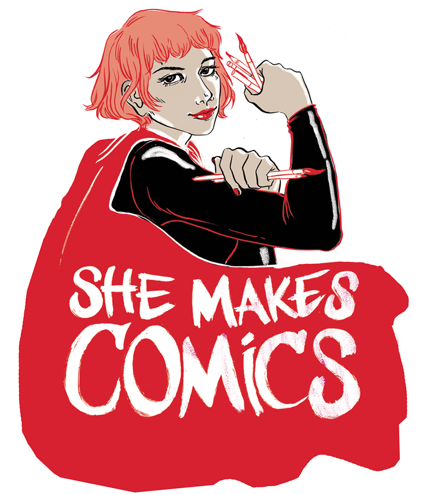 she makes comics logo