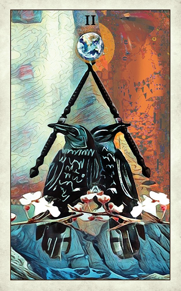 CROW tarot two of wands