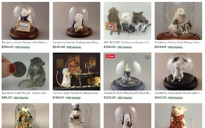 screenshot of taxidermied mice dressed up