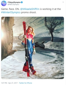 Mikaela Shiffrin in the Capt Marvel ski uniform