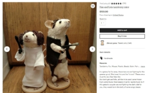 taxidermy mice as han solo & princess leia