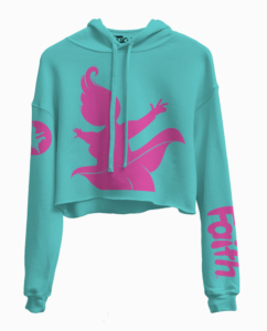 Faith teal with pink silhouette sweatshirt