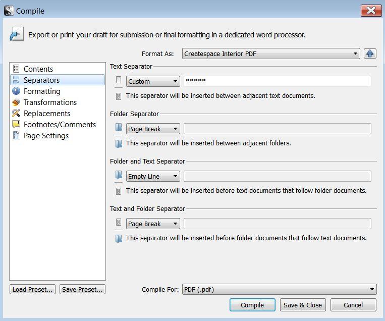 Scrivener separators for interior pages