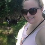 Amber and Gus on a walk