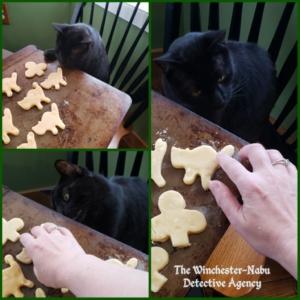 collage of Gus baking