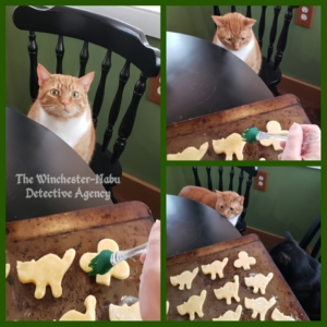 collage of Oliver helping bake cookies