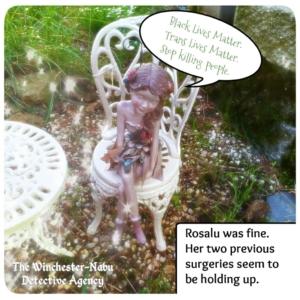 Rosalu fairy sitting on chair